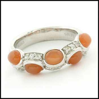 Authentic Lorenzo .925 Sterling Silver White Gold Plated, Genuine Agate & White Sapphire Ring, Size 8