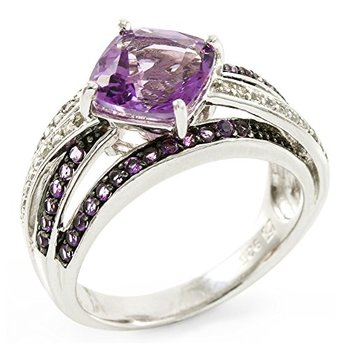 Authentic Lorenzo .925 Sterling Silver White Gold Plated Genuine Amethyst & Round Brilliant Cut White Topaz Ring, Size 6.5