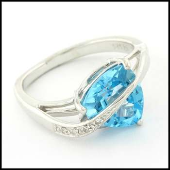Authentic Lorenzo .925 Sterling Silver White Gold Plated Genuine Diamond & Licensed Swiss Blue Topaz Ring, Size 7