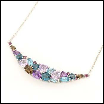 Authentic Lorenzo .925 Sterling Silver & White Gold Plated Genuine Multicolor Gemstones Necklace