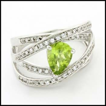 Authentic Lorenzo .925 Sterling Silver & White Gold Plated Genuine Peridot & White Sapphire Ring, Size 7
