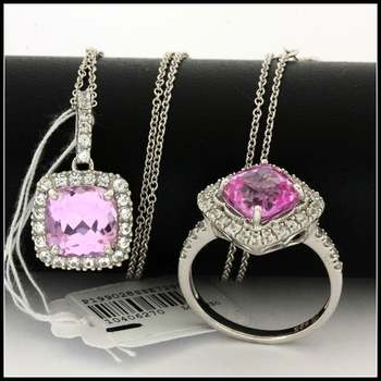 Authentic Lorenzo .925 Sterling Silver White Gold Plated Genuine Pink & White Topaz Set of Ring & Necklace