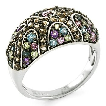 Authentic Lorenzo .925 Sterling Silver White Gold Plated Genuine Smoky Quartz, Amethyst, Peridot & Blue Topaz Ring Size 7