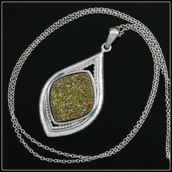 Authentic Lorenzo .925 Sterling Silver & White Gold Plated, Golden Willow Druzy Agate Necklace