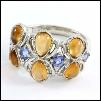 Authentic Lorenzo .925 Sterling Silver & White Gold Plated, Hessonite Garnet & Tanzanite Ring Sz 9
