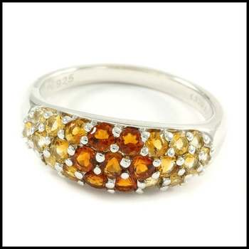 Authentic Lorenzo .925 Sterling Silver & White Gold Plated, Madeira Citrine & Yellow Topaz Ring Size 6