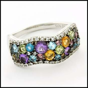 Authentic Lorenzo .925 Sterling Silver White Gold Plated Multicolor Gemstones Ring, Size 7