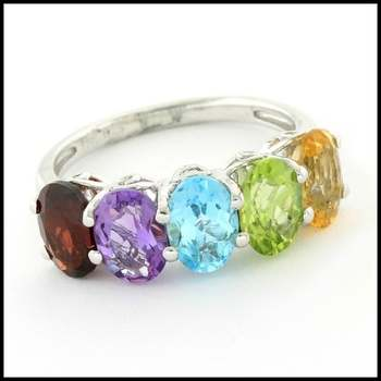 Authentic Lorenzo .925 Sterling Silver White Gold Plated, Multicolor Gemstones Ring, Size 7