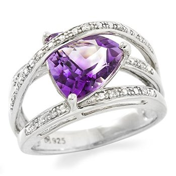 Authentic Lorenzo .925 Sterling Silver White Gold Plated Natural Amethyst & Diamond Ring, Size 7