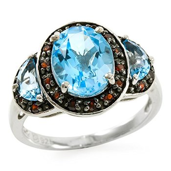 Authentic Lorenzo .925 Sterling Silver White Gold Plated Natural Blue Topaz & Garnet Ring, Size 7