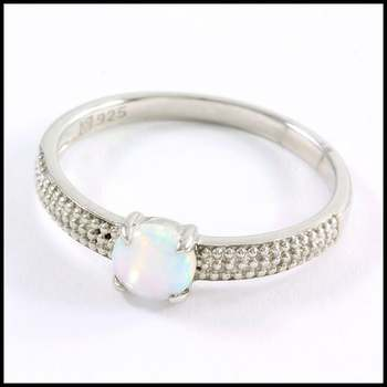Authentic Lorenzo .925 Sterling Silver & White Gold Plated, Opal Ring Sz 7