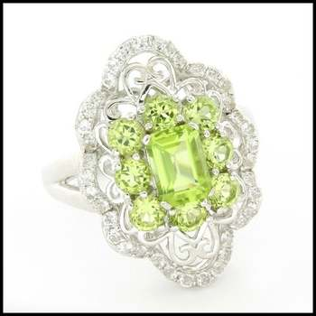 Authentic Lorenzo .925 Sterling Silver White Gold Plated, Peridot & White Sapphire Ring, Size 8