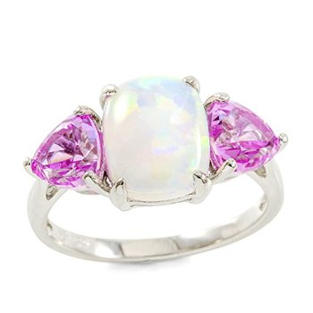 Authentic Lorenzo .925 Sterling Silver White Gold Plated Pink Sapphire & Opal Ring, Size 7