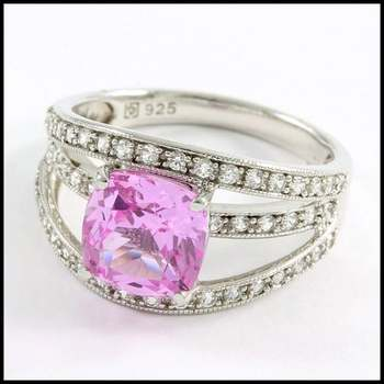 Authentic Lorenzo .925 Sterling Silver & White Gold Plated, Pink & White Sapphire Ring Sz 7