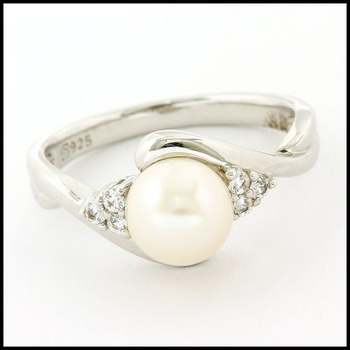 Authentic Lorenzo .925 Sterling Silver & White Gold Plated White Fresh Water Pearl & White Sapphire Ring, Size 6