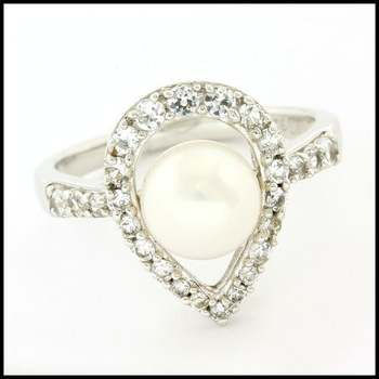 Authentic Lorenzo .925 Sterling Silver & White Gold Plated White Fresh Water Pearl & White Sapphire Ring, Size 7