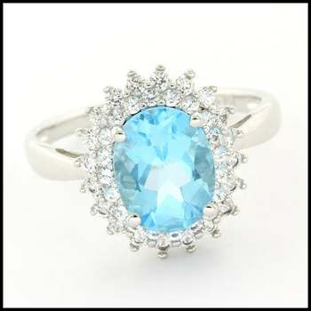 Authentic Lorenzo .925 Sterling Silver White Gold Plated White Sapphire & Licensed Swiss Blue Topaz Ring, Size 7