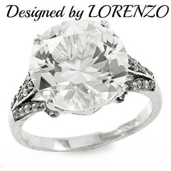 Authentic Lorenzo .925 Sterling Silver White Gold Plated White Sapphire Statement Ring, Size 7