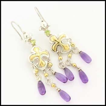 Authentic Lorenzo .925 Sterling Silver & White&Yellow Gold Plated, 6.00ctw Genuine Amethyst & 0.22ctw Peridot  Earrings