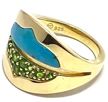 Authentic Lorenzo .925 Sterling Silver & Yellow Gold Overlay Chinese Turquoise & Chrome Diopside Ring Sz7