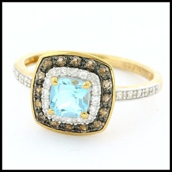 Authentic Lorenzo .925 Sterling Silver & Yellow Gold Overlay Genuine Blue Topaz & White and Smoky Quartz Ring Size 7