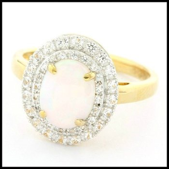 Authentic Lorenzo .925 Sterling Silver & Yellow Gold Overlay Genuine Opal & White Topaz Ring Size 7.25