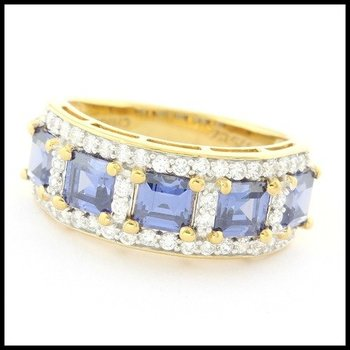 Authentic Lorenzo .925 Sterling Silver & Yellow Gold Overlay Sapphire & White Topaz Ring Size 6