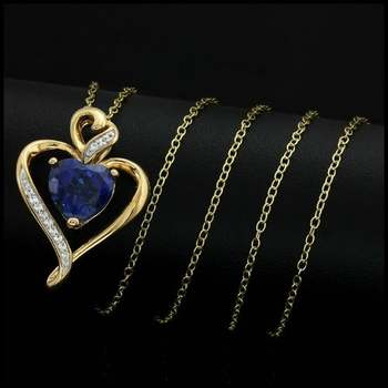 Authentic Lorenzo .925 Sterling Silver Yellow Gold Plated, 2.36ctw Blue & White Sapphire Necklace