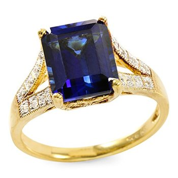 Authentic Lorenzo .925 Sterling Silver Yellow Gold Plated Blue & White Sapphire Ring, Size 7