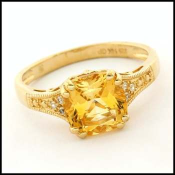 Authentic Lorenzo .925 Sterling Silver & Yellow Gold Plated Citrine & White Sapphire Ring, Size 7