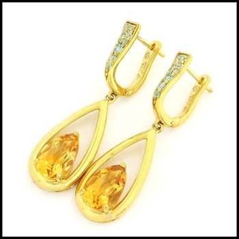 Authentic Lorenzo .925 Sterling Silver & Yellow Gold Plated, Genuine Citrine &  Licensed Swiss Blue Topaz  Earrings