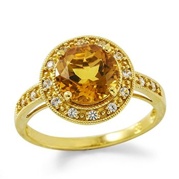 Authentic Lorenzo .925 Sterling Silver Yellow Gold Plated Genuine Round Citrine & White Sapphire Ring, Size 7