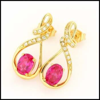 Authentic Lorenzo .925 Sterling Silver Yellow Gold Plated Ruby & White Sapphire Earrings