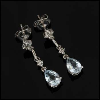 Authentic Lorenzo Solid .925 Sterling Silver & White Gold Plated, 1.25ctw Genuine Aquamarine & White Sapphire Earrings
