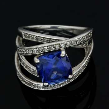 Authentic Lorenzo Solid .925 Sterling Silver & White Gold Plated, 2.00ctw Blue Sapphire & 0.62ctw White Sapphire Ring Size 6.75