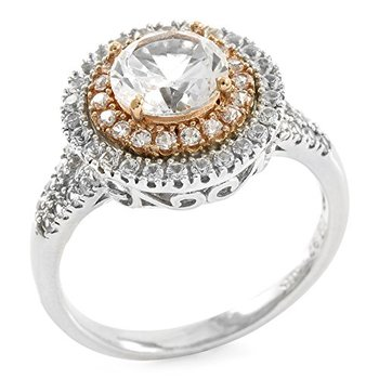 Authentic Lorenzo Sterling Silver & 10k Yellow Gold White Sapphire Ring, Size 6.5