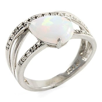 Authentic Lorenzo Sterling Silver 10mm Pear Shape Created Opal & Genuine Round Single Cut Diamond Women's Ring, Size 6.5