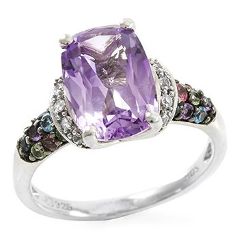 Authentic Lorenzo Sterling Silver 12mm Cushion Cut Natural Amethyst & Created Round Cut White SapphireRing Size 7