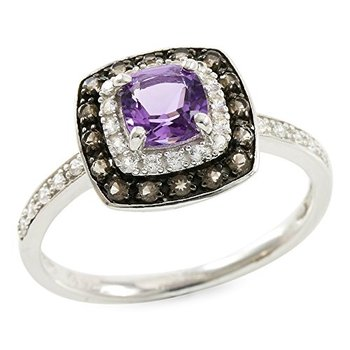 Authentic Lorenzo Sterling Silver 5mm Cushion Cut Natural Amethyst & Round Brilliant Smoky Quartz Ring Size 7
