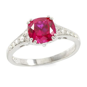 Authentic Lorenzo Sterling Silver 7mm Cushion Cut Created Ruby & Created Round Cut White Sapphire Women's Ring, Size 7