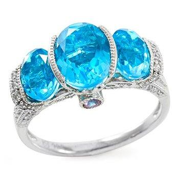 Authentic Lorenzo Sterling Silver 7mm Oval Shape Tourmaline Color Quartz & Sapphire Women's Ring, Size 7