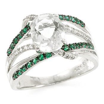 Authentic Lorenzo Sterling Silver 9mm Oval Shape Created Green Quartz, Emerald & White Sapphire Women's Ring, Size 6.5