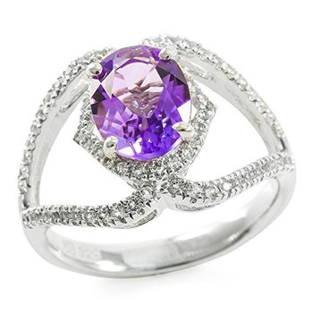 Authentic Lorenzo Sterling Silver 9mm Oval Shape Genuine Amethyst & Round Brilliant Cut White Topaz Ring, Size 7