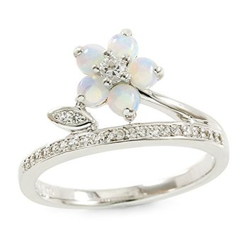 Authentic Lorenzo Sterling Silver Created Round Cut Opal and Created White Sapphire Ring, Size 7