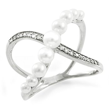 Authentic Lorenzo Sterling Silver Natural Freshwater Pearl & Brilliant Round Cut Natural Diamonds Women's Ring, Size 7