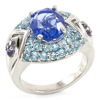 Authentic Lorenzo Sterling Silver Oval Shape Natural Fluorite, Iolite & Licensed Swiss Blue Topaz Women's Ring, Size 8