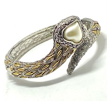 Bangle Bracelet  Pearl & CZ  Two-Tone 14k Gold Over Hypoallergenic