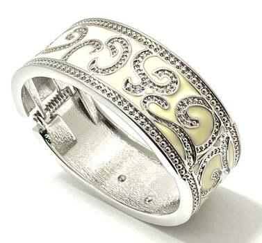 Bangle Bracelet White Enamel & 1.50ct White Topaz White Rhodium Over