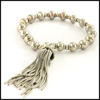Bead Stretch Bracelet with a Tassel