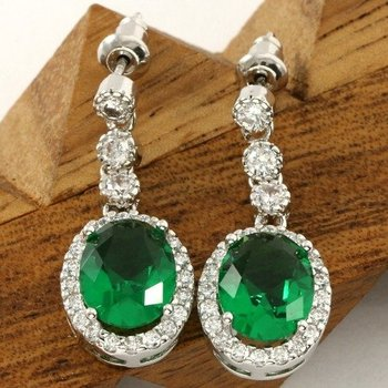 Beautifully Created Emerald and White Sapphire Earrings